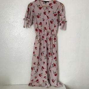 One clothing pink floral front wrap midi dress